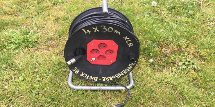 XLR kabel op haspel